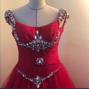 Terani Couture Red Ball Gown Size 2